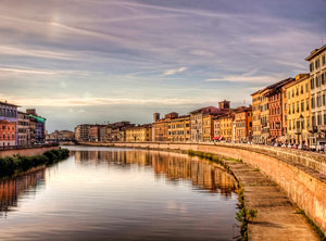 sunset on the river Arno in Pisa